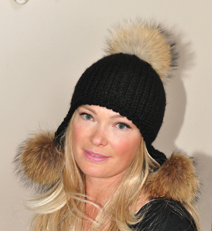 2aefe5c5afd Pompom Hat Trapper Hat Black Aviator Trapper Hat with Fur Pom Poms CHOOSE  COLOR SALE Ski Women Hat Christmas Gift under 100 by lucymir on Etsy