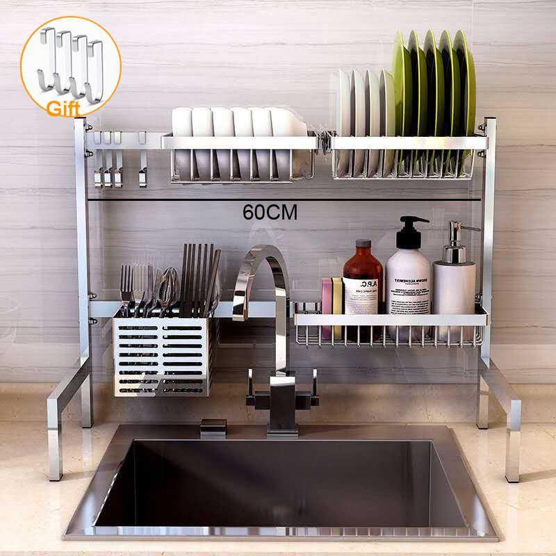 304 Stainless Steel Kitchen Shelf Rack Drying Drain Storage