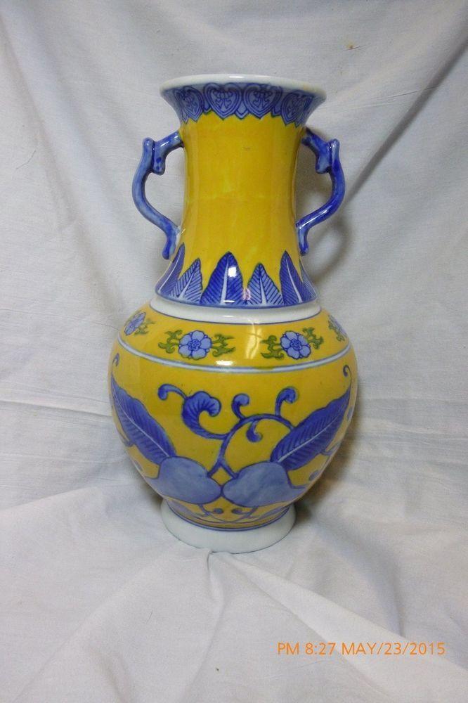 Zhongguo Zhi Zao Chinese Porcelain Vase Yellow Blue And White Made