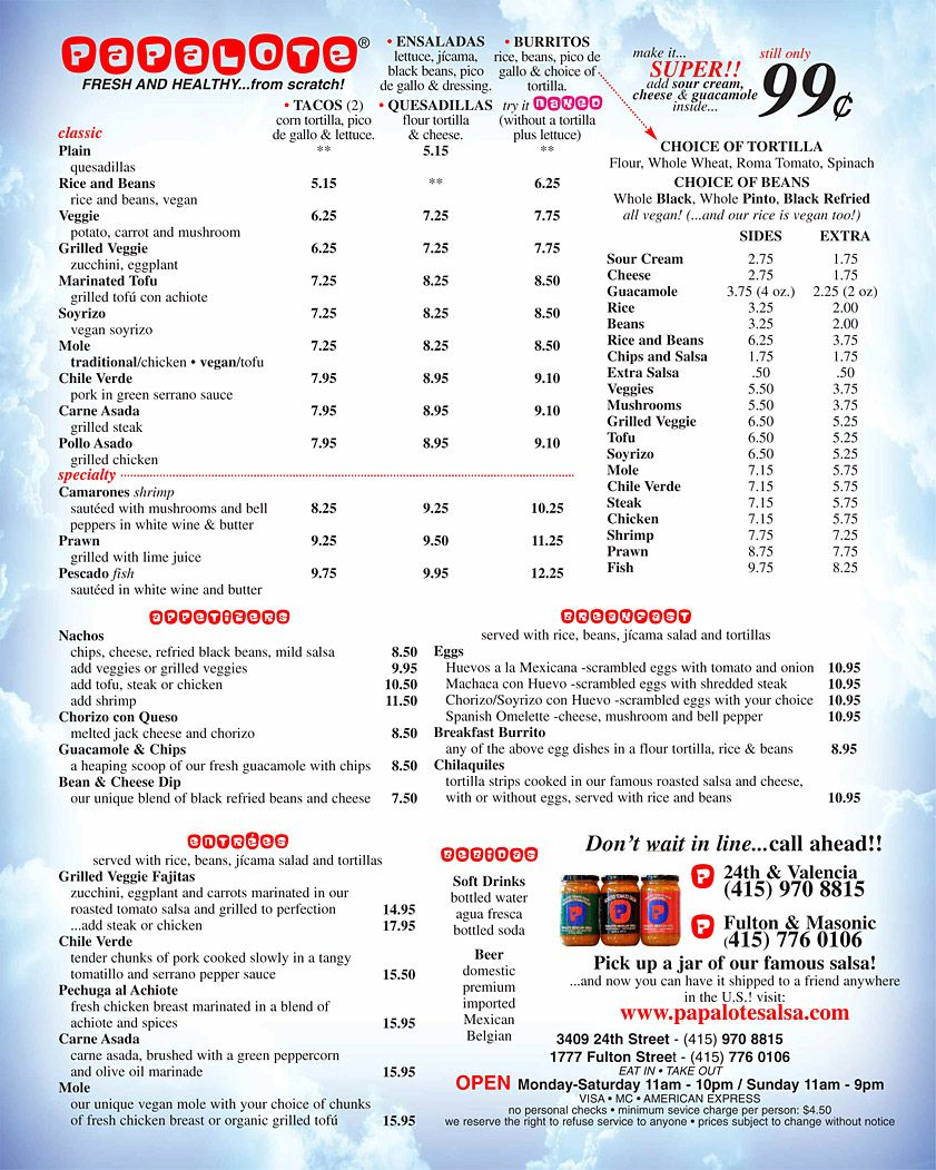 Papalote Mexican Grill Menu (San Fran) - Click to view a larger and ...