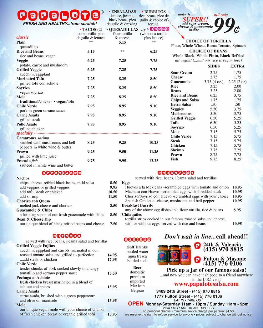 Papalote Mexican Grill Menu (San Fran) Click to view a