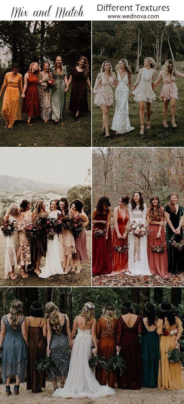 match bridesmaid dresses different testures jewel toneweddings wedding mismatched  mismatched bridesmaid dresses Source by fmwild idea for wedding guestmix  match brides...