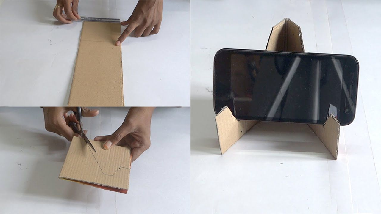 Diy crafts making of mobile stand in 5 minutes using for Diy crafts with waste materials