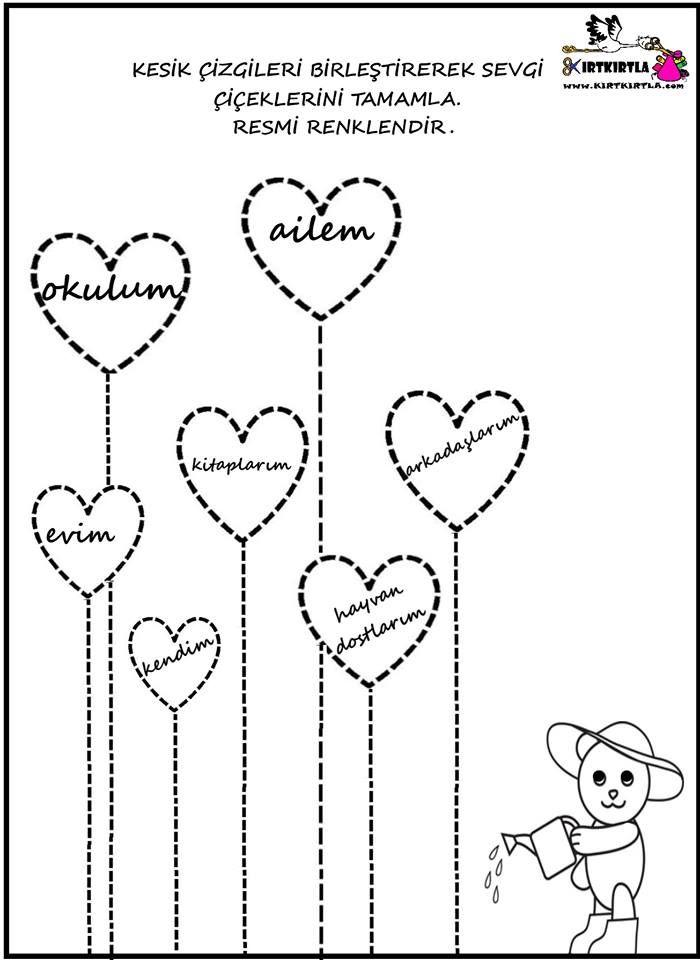 Sevgi Cicekleri Okul Oncesi Okul Boyama Sayfalari