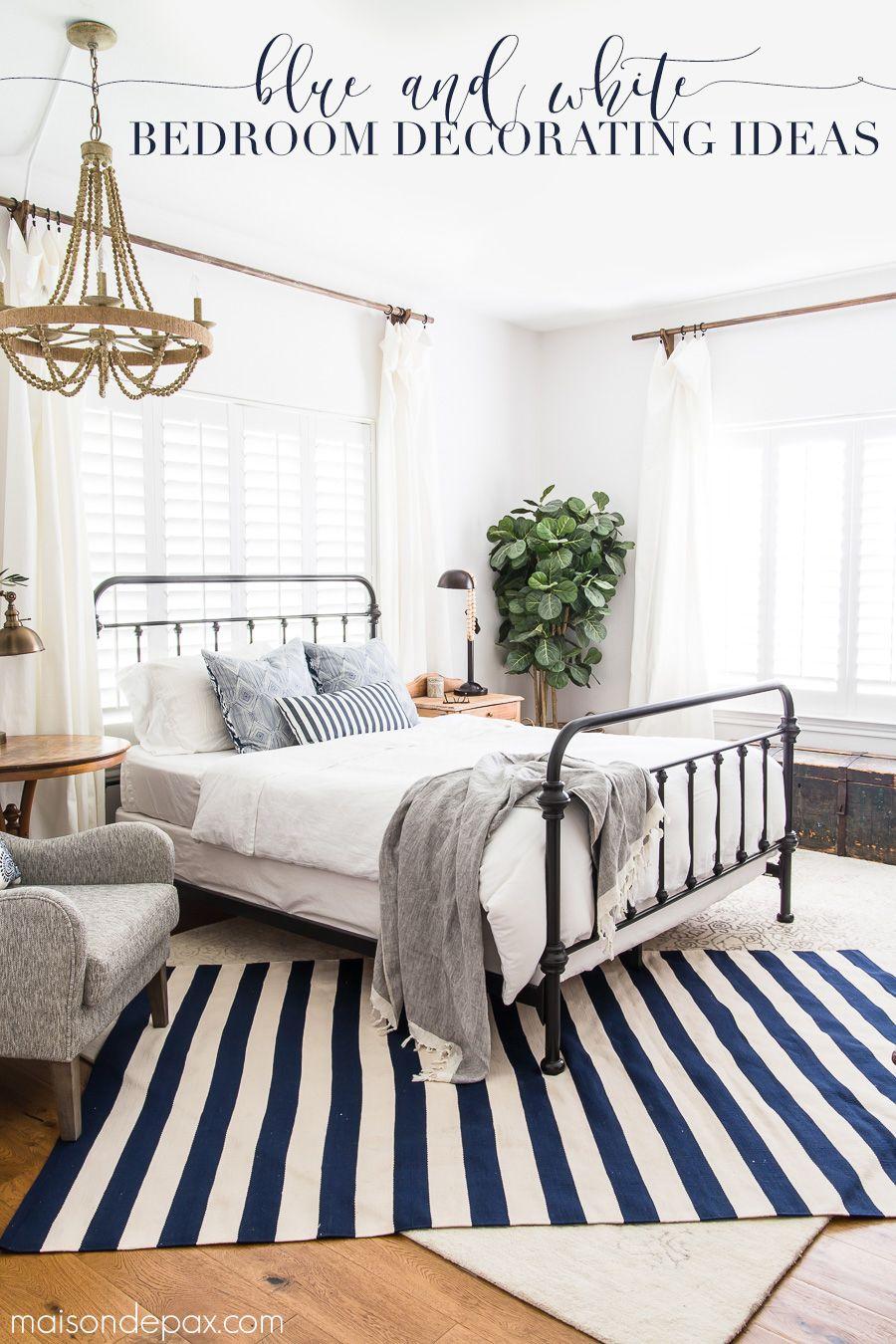 Blue And White Bedroom Ideas For Summer White Bedroom Decor