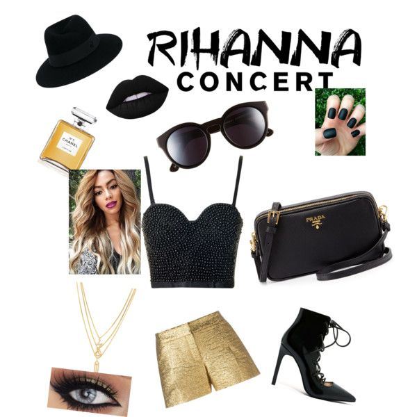 Rihanna concert by bryasia41003 on Polyvore featuring polyvore fashion style Topshop Lanvin Jeffrey Campbell Prada Kenzo Maison Michel Sunday Somewhere Lime Crime Chanel clothing