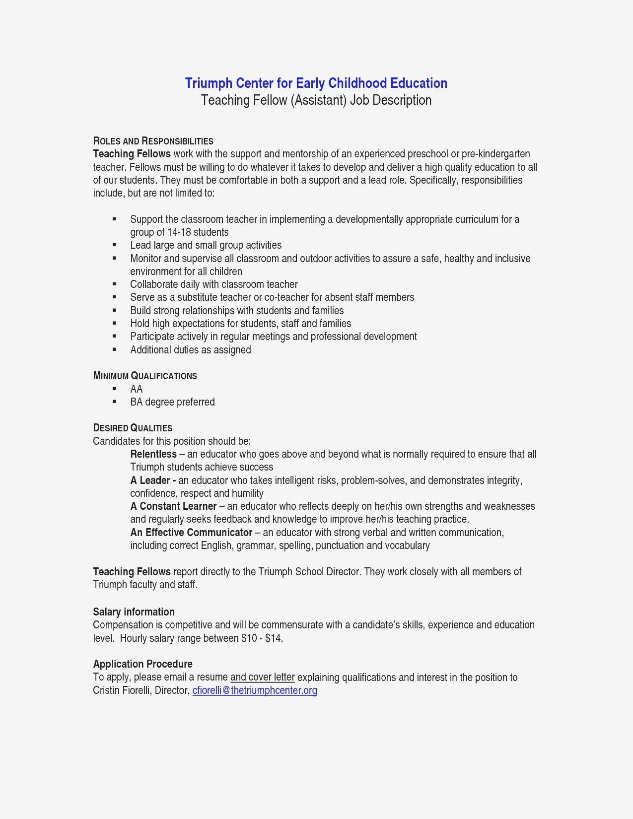 teacher assistant job description resume unique pre k