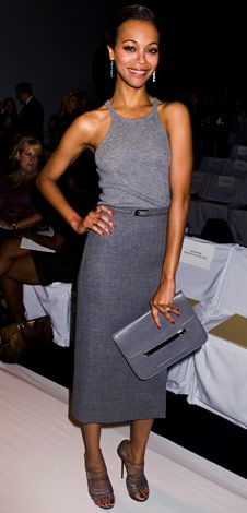 Grey doesn't have to be dull... Zoe Saldana in Michael Kors