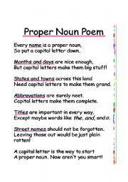 English worksheet: Proper Noun Poem | Poetry Prompts | Pinterest