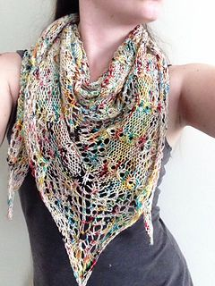 A triangle shawl that can be anywhere from bohemian to elegant depending on what yarn you choose.
