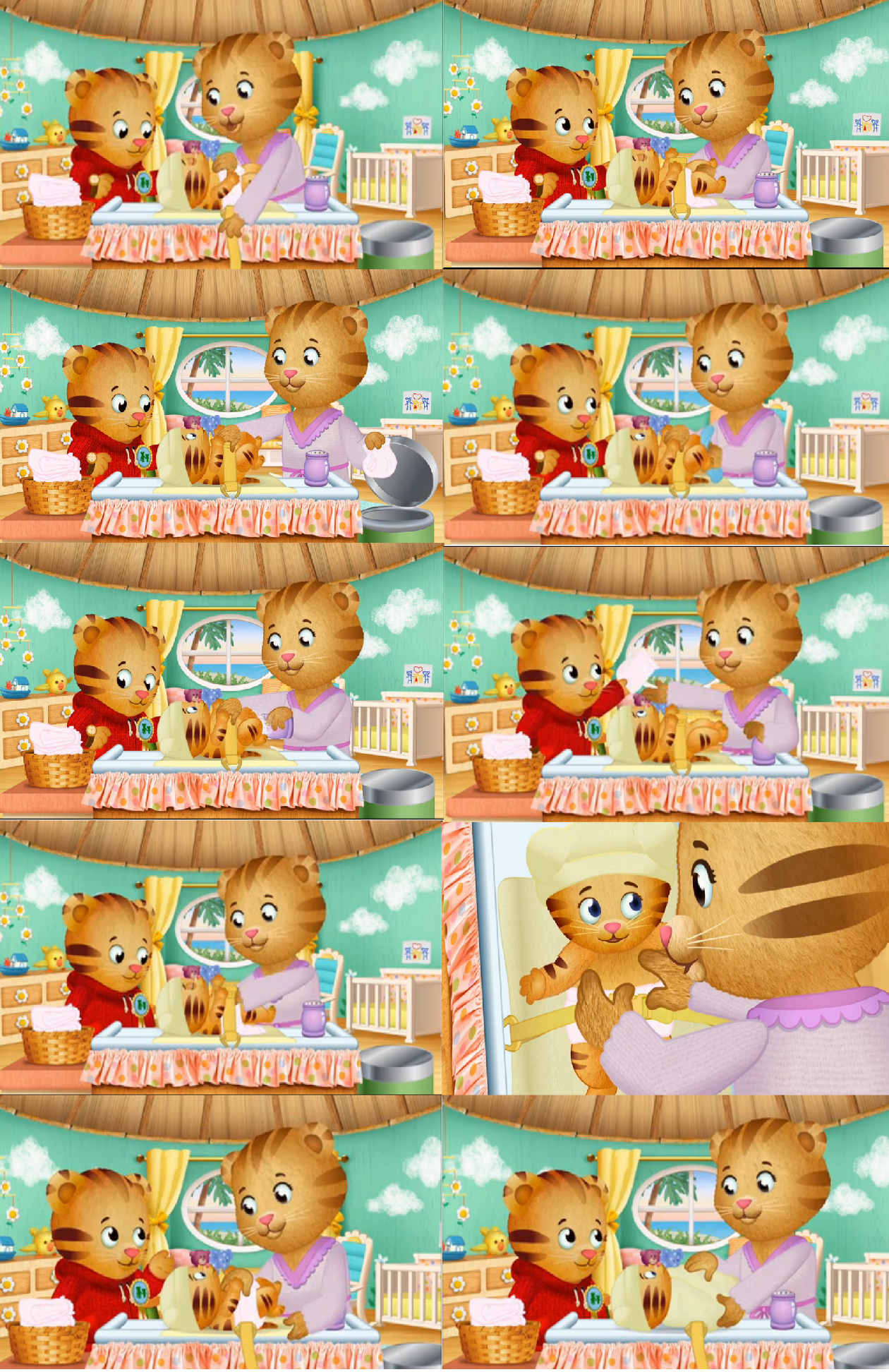 A collage of pictures of Daniel and Mom Tiger changing ...