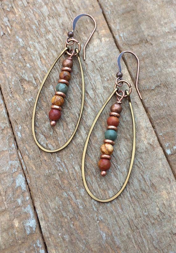 Photo of Boho Copper Hoop Earrings, Jasper Stone Jewelry