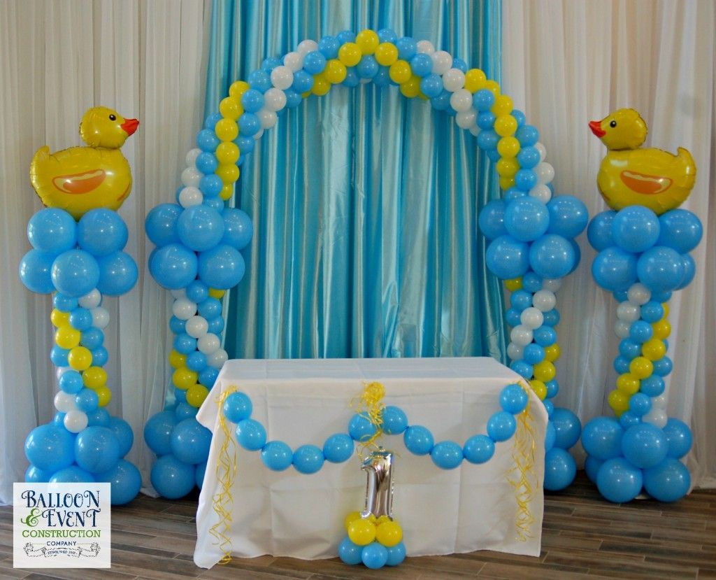 Balloon first birthday jacksonville duck balloon columns for Balloon column decoration