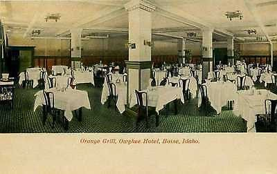 Boise Idaho ID 1912 Owyhee Hotel Interior Orange Grill Antique Vintage Postcard