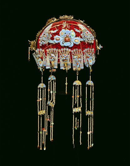 Women's Formal Hat (Feng-Kuan). Mid 19th century. China. Wicker, velvet, kingfisher feather, semi-precious stones.