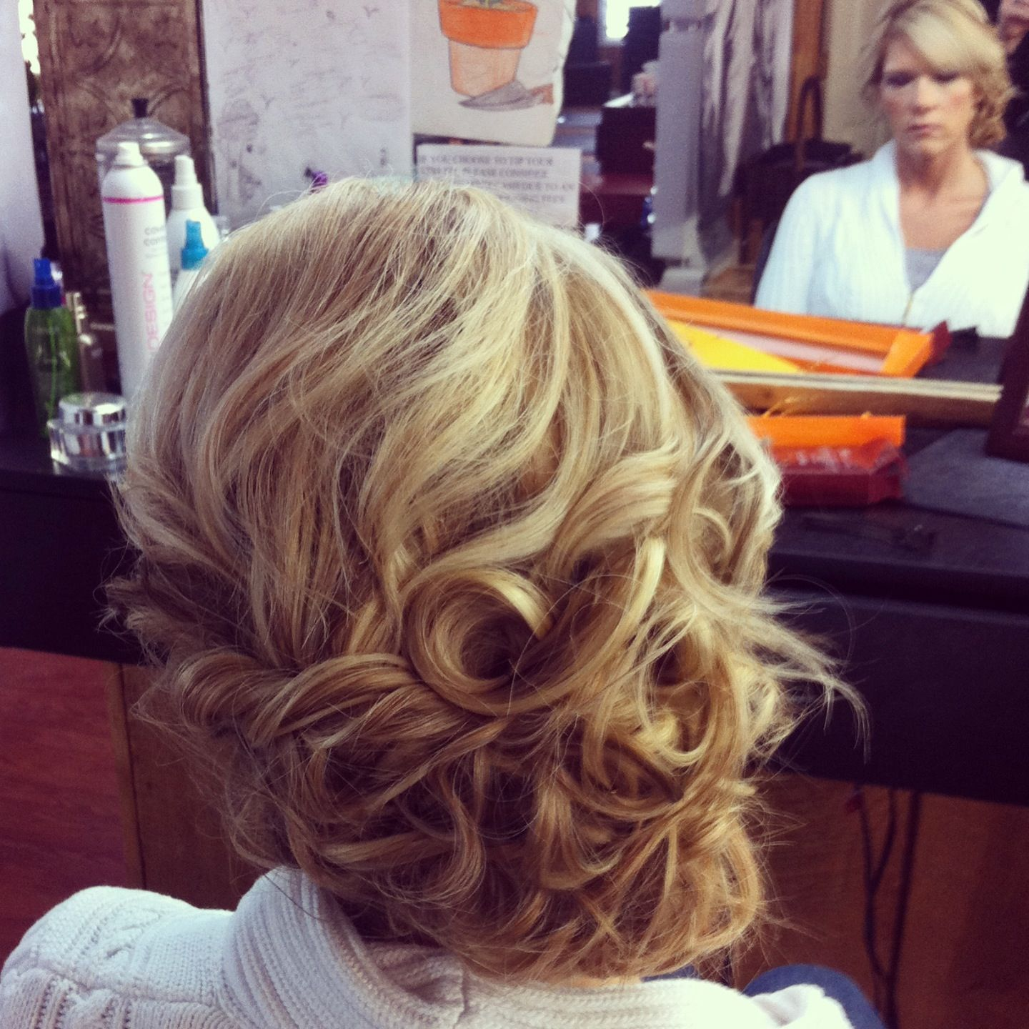 Loose Curls Side Swept Updo I Did For A Wedding