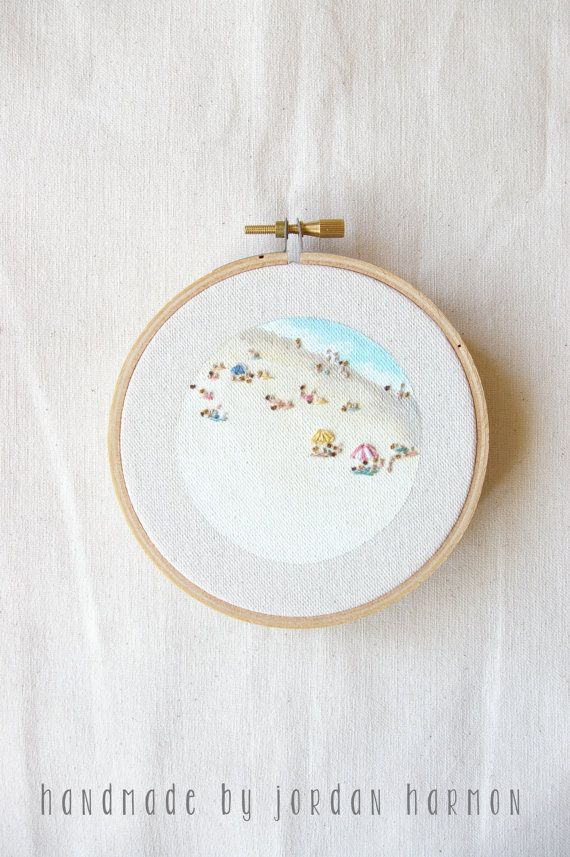 Beach 6 Embroidery Art Hoop Art Summer Art Ready Made