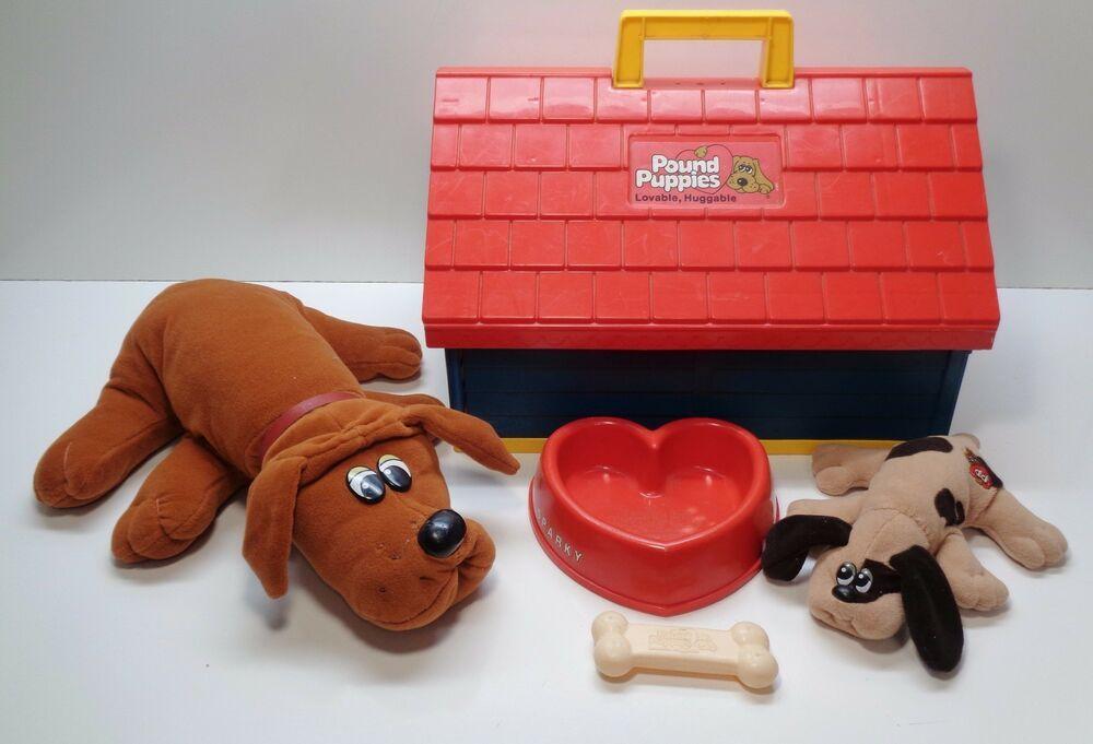 Vintage 1986 Tonka Pound Puppies Dog House Bone And Food Dish Ebay Pound Puppies Plush Dog Toys Mini Puppies