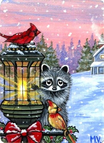 Original Raccoon Winter Christmas Cardinals Snow Lamp Post ACEO Print | eBay