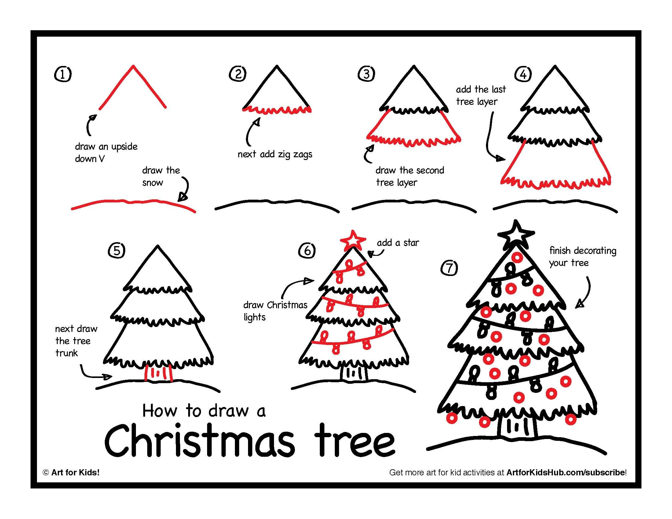 How To Draw A Christmas Tree Art For Kids Hub Art For Kids