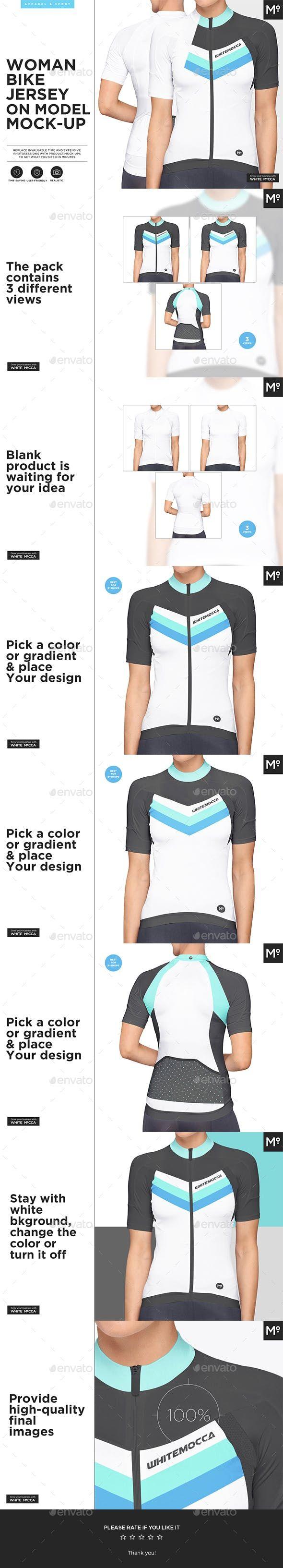 Download Women Bike Jersey On Model Mock Up