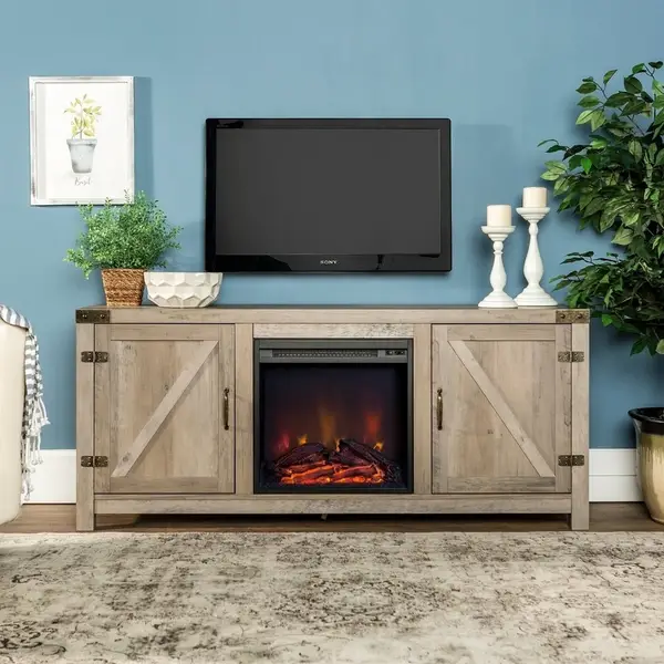 19 Deals From Overstock S Spring Blowout Sale That Are Worth Checking Out In 2020 Fireplace Tv Stand Farmhouse Tv Stand Fireplace Tv