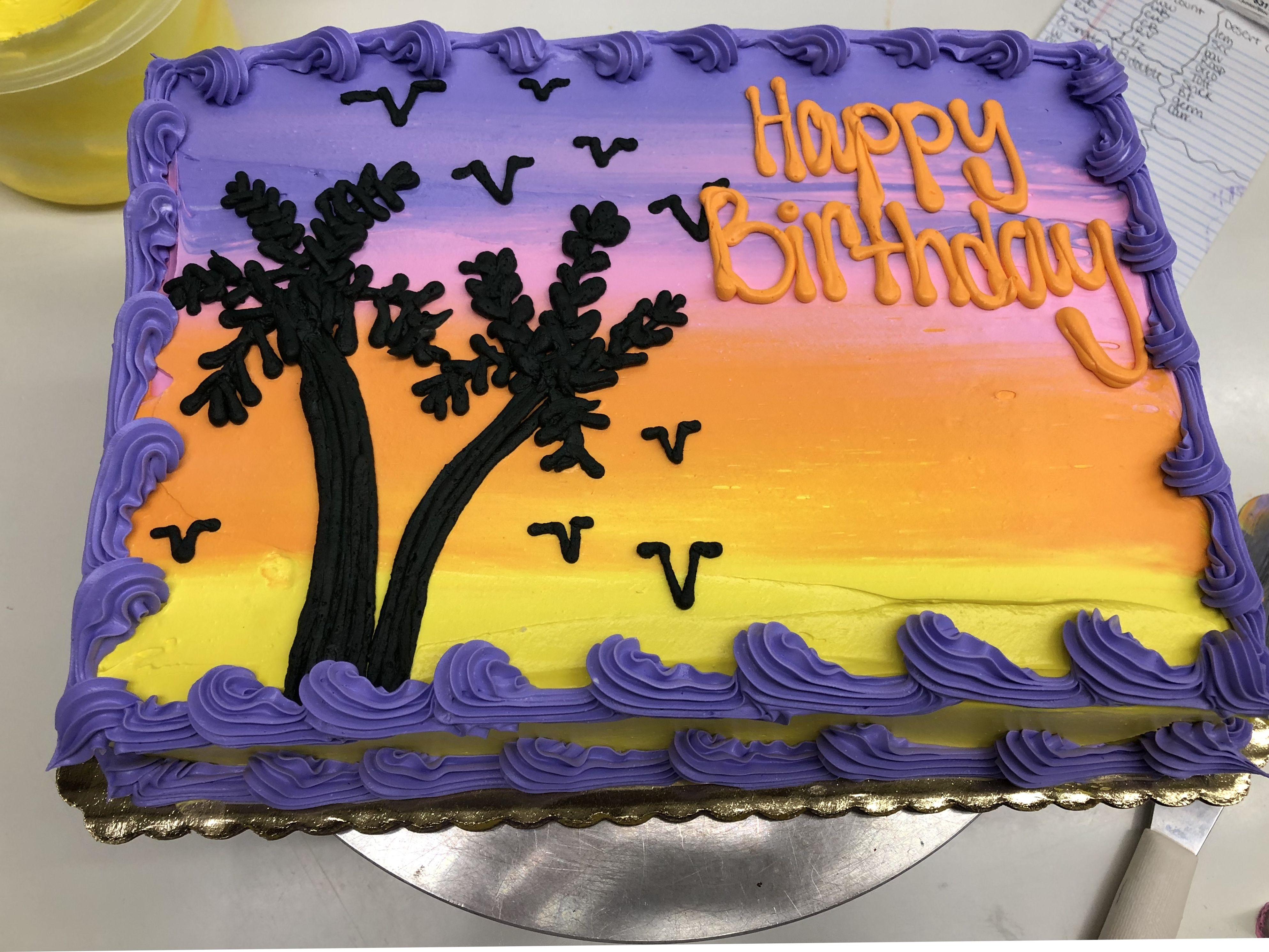 Super Beach Sunset Birthday Cake Kkscakes Cake Decorating Birthday Funny Birthday Cards Online Inifodamsfinfo