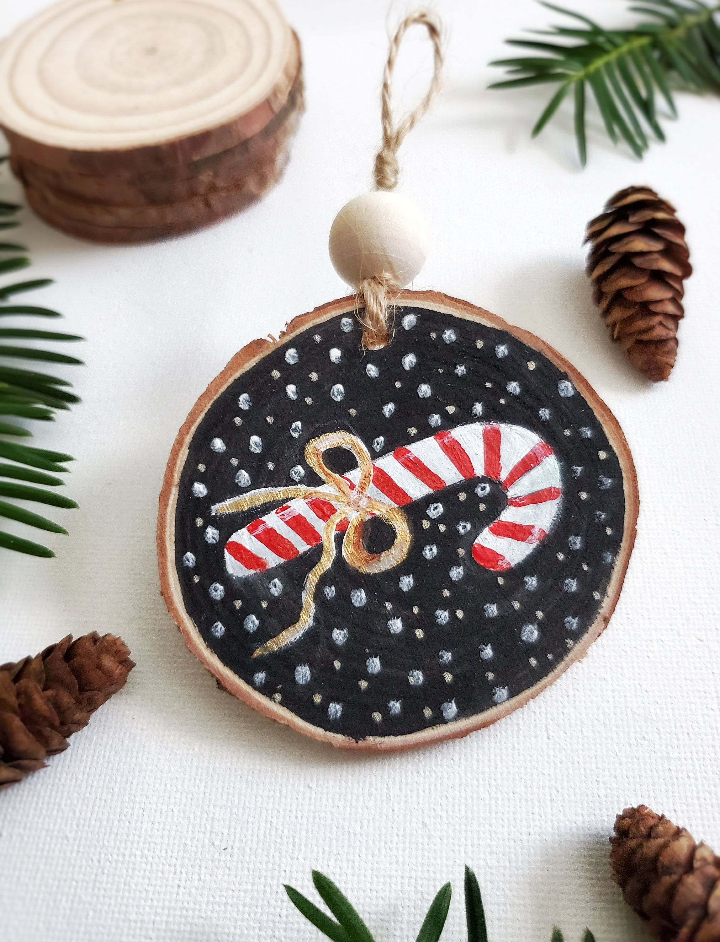 Candy Cane Ornamentchristmas Ornament Wood Slice Ornament Etsy Art Christmas Gifts Homemade Christmas Ornaments Diy Christmas Ornament Crafts