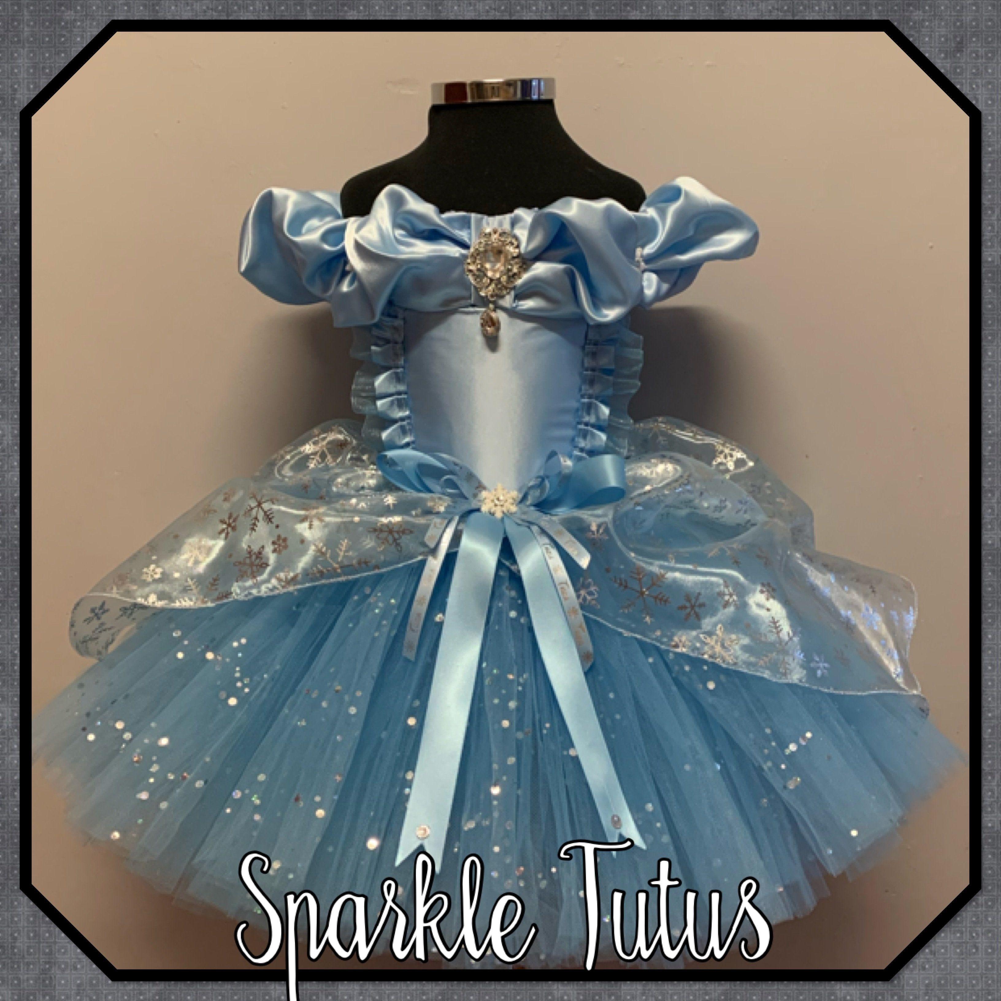 Frozen Elsa ballgown with snowflake organza overlay and sparkle. - 8-9