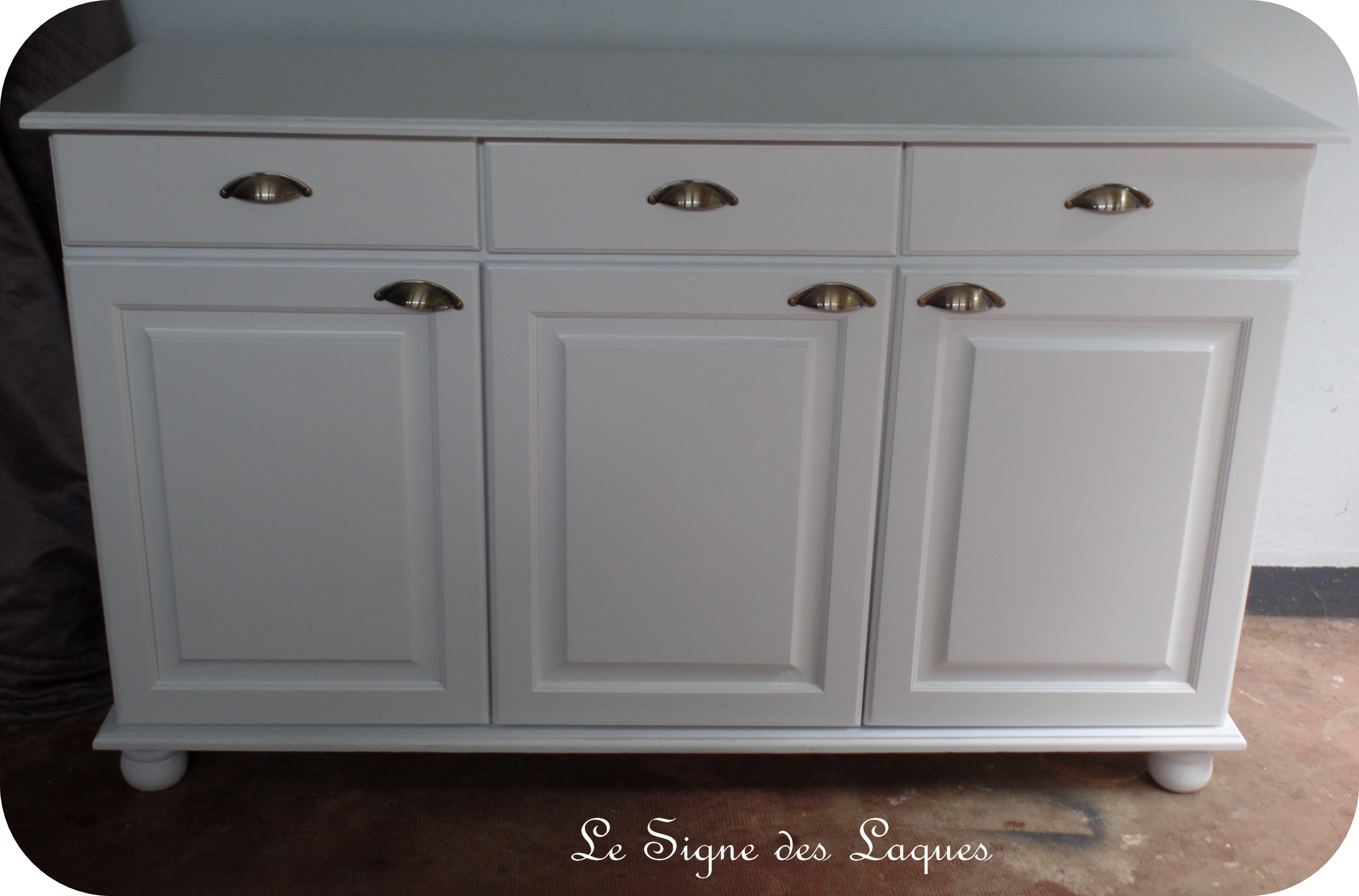 Bahut bas laqué blanc avec poignées coquille | meubles ...
