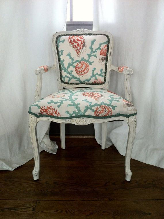 Shabby Chic French Louis Arm Chair Upholstered Nautical Costal Beach Decor  Coral Seashell Outdoor Fabric Made To Order On Etsy, $589.00