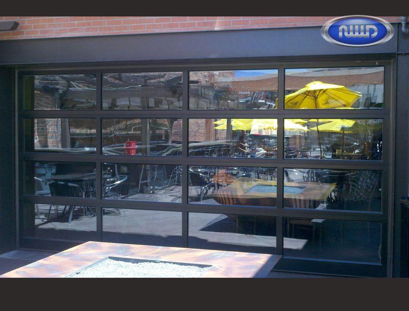 Modern Classic MC44 Dark Bronze Anodized Finish   Clear Glass   Garage Door    Restaurant