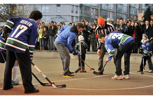 Vancouver Canucks Locked Out Players Kevin Bieksa And Ryan Kesler Join Fans Of All Ages For A Street Hockey Game Canucks Basketball Games For Kids Ryan Kesler