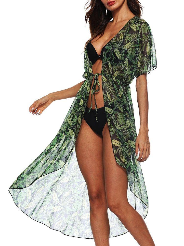 d862bd1c85 Stylish Short Sleeve Asymmetrical Printed Mid-Long Beach Kimonos - NewChic