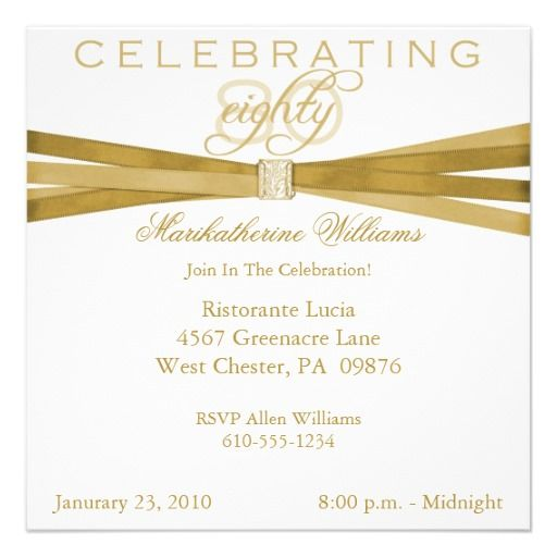 Elegant 80th Birthday Party Invitations