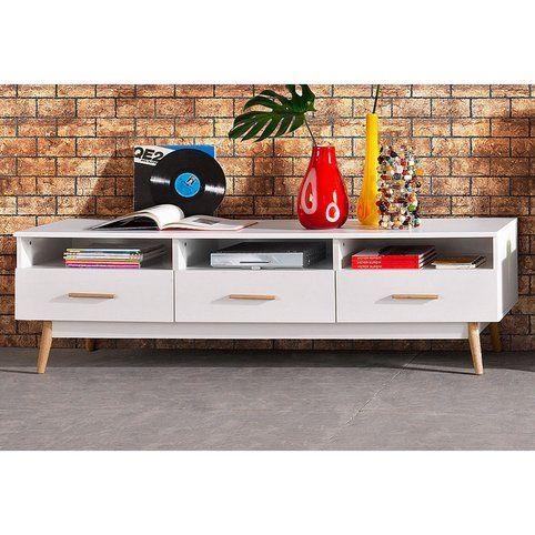 Meuble TV Hifi 3 niches + 3 tiroirs 180 cm - Décor blanc/chêne- Vue - Renovation Meuble En Chene