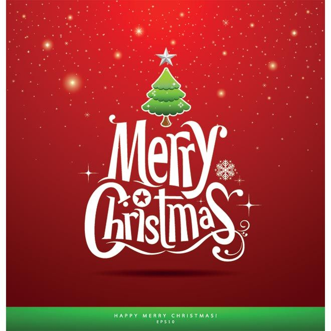 Free Vector Merry Christmas Logo Typography On Red Background Greeting Card Template Illustration