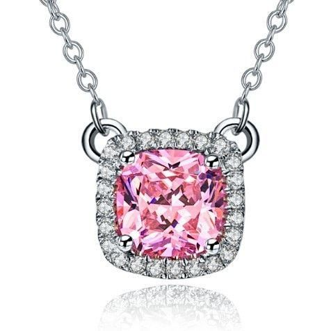 G14K 585 Jewelry 1Ct Pink Cushion Cut Female Pendant Real 14K 585 White Gold Pendant Unfailing Bridal Jewelry