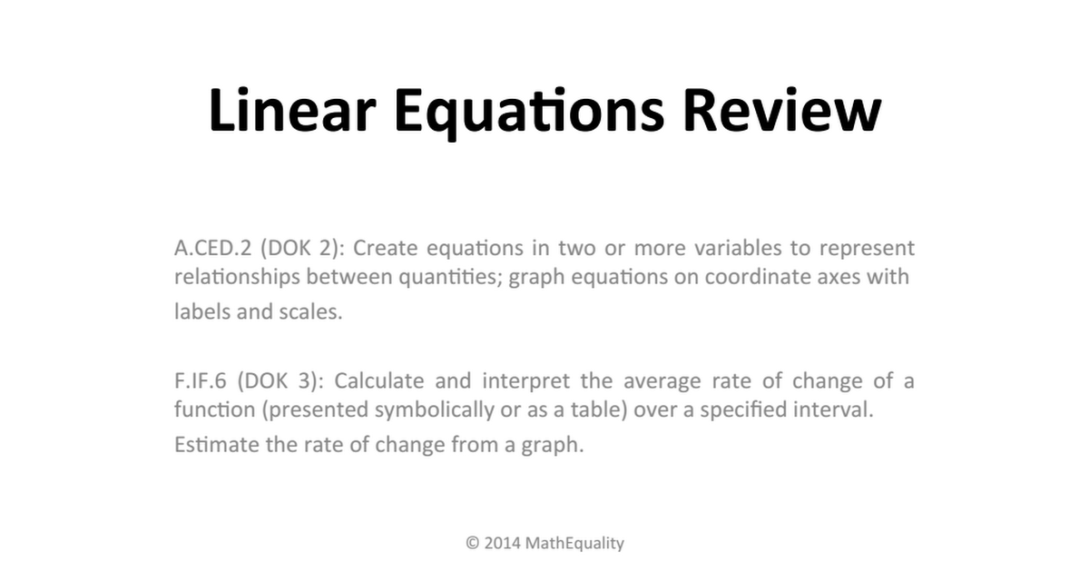 Linear Equations Overview MathEquality.pdf Linear