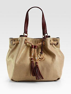 faf80d4045be57 MICHAEL MICHAEL KORS Marina Metallic Canvas Drawstring Tote | Let me ...