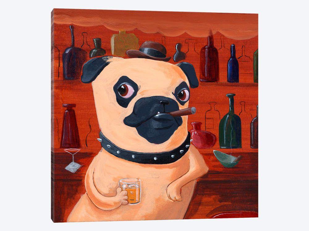 Pug At The Bar Canvas Wall Art by Brian Rubenacker