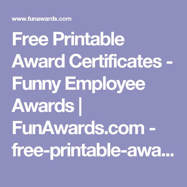 free printable award certificates funny employee awards