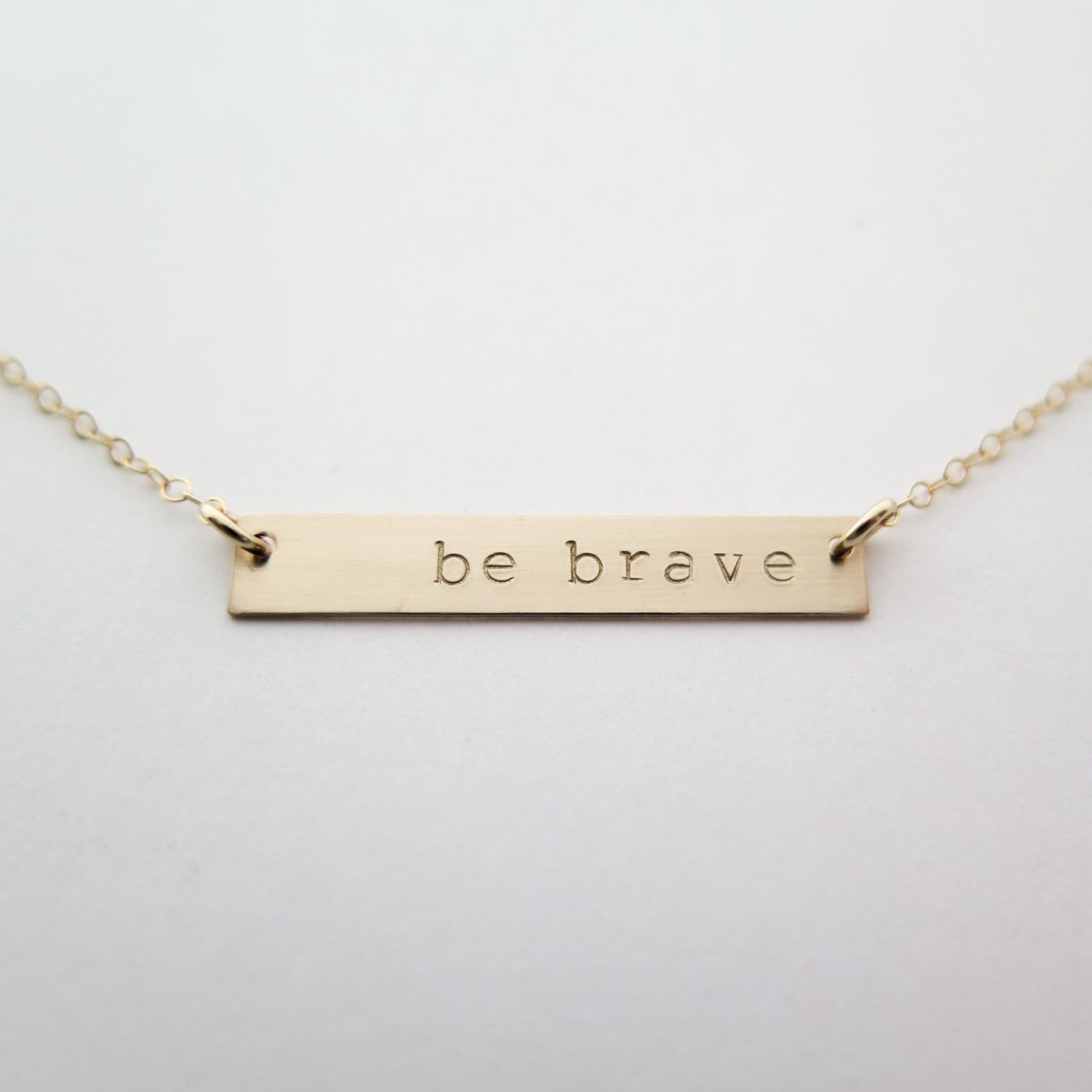 Be Brave Gold Bar Necklace Hand Stamped Jewelry Layering