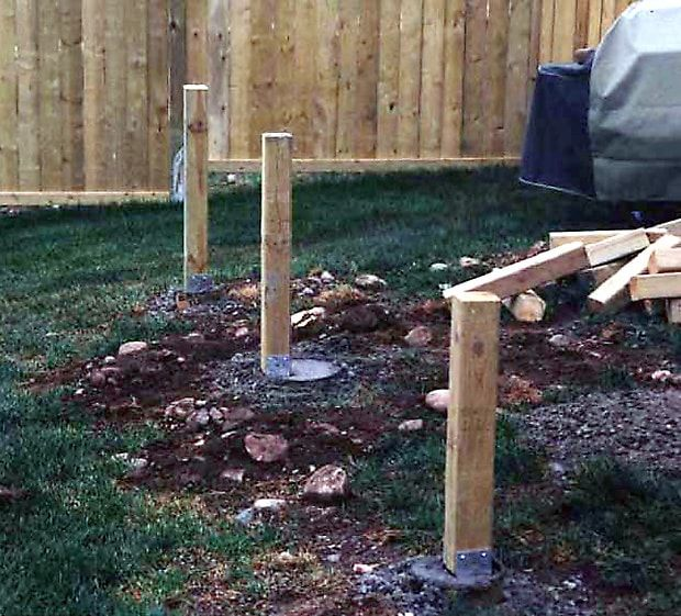Support Posts Installed On Top Of Sonotubes For A New Deck Inatallation Deck Footings Deck Posts Concrete Deck