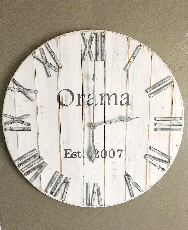 30 white rustic modern farmhouse wood wall clock extra