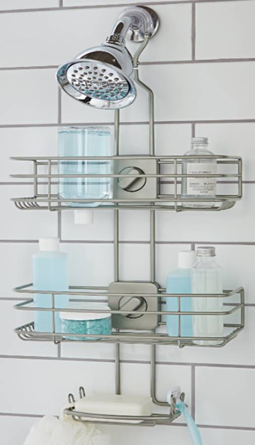 Better Homes Gardens Adjustable Shower Caddy Satin Nickel Walmart Com In 2020 Shower Caddy Shower Organization Better Homes Gardens