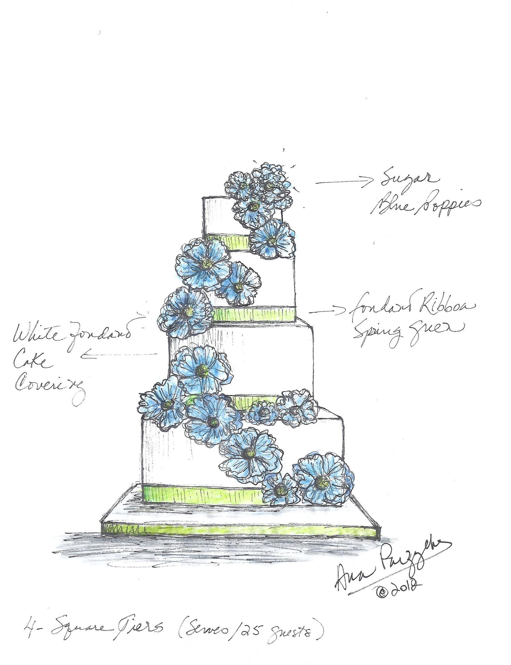 Blue Poppies Wedding Cake Sketch Sketches Pinterest