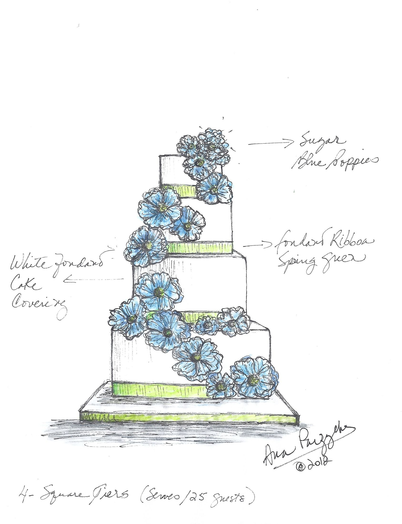 Blue Poppies Wedding Cake Sketch Wedding Cake Drawing Cake