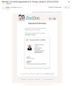 Zocdoc Appointment Reminder Email Reminder Inspiration Smb