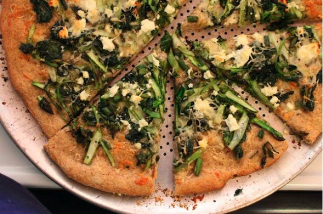 Asparagus and Kale Raab Pizza | Week 4/24 - asparagus and kale raab